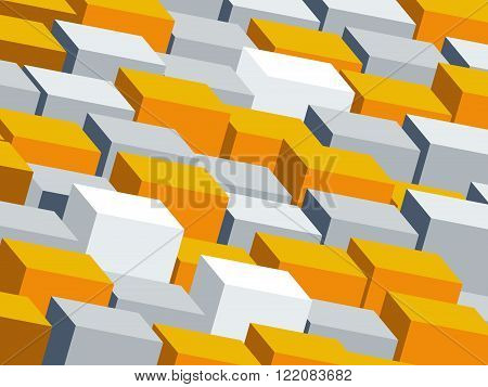 Background with grey and yellow cubes, flat design illustration