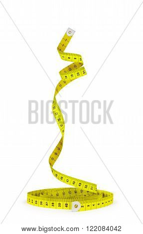 bright yellow measuring tape in a spiral isolated on white background