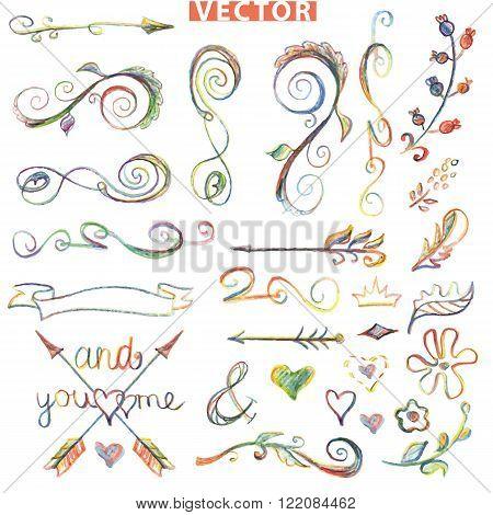 Vintage Doodles floral decor set .Watercolor, penci, crayon hand drawing sketched.Design template, invitation card.Frame, border dividers, corner.Love Vector for wedding holiday, birthday.