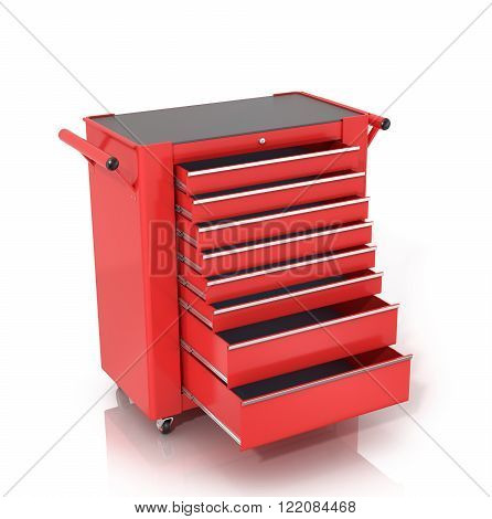 Red Toolbox on wheels with open drawers isolated white background.
