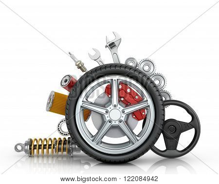 Car parts around the wheel isolated on white background.