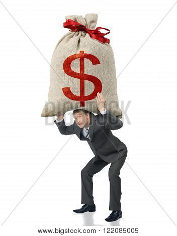 Businessman holding big bag with dollar sign isolated on white background