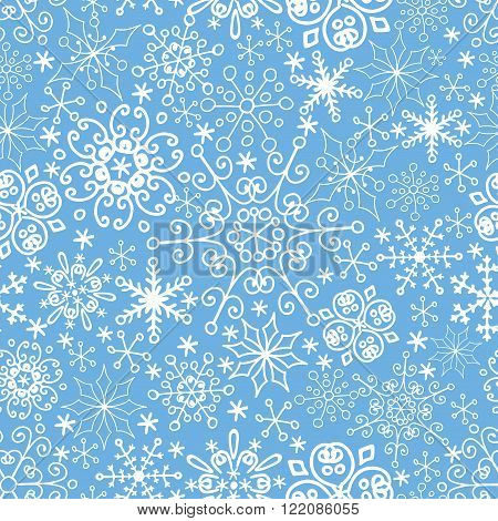 Snowflake lace seamless pattern, ornament background.Christmas, new year holiday decor, Winter elements.Roundr shape, crystal Vector.Vintage Wallpaper, Retro wrap, textile