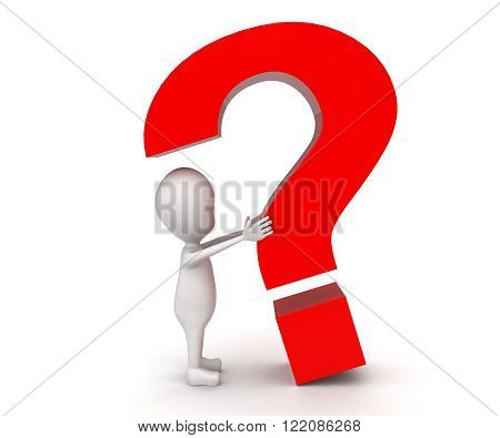 3D Man Trying To Catch Big Question Mark Which Is About To Fall  Concept