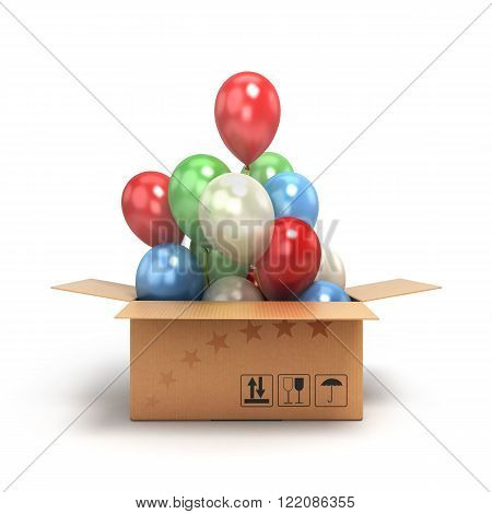 colored balls fly out of the box isolated on white background