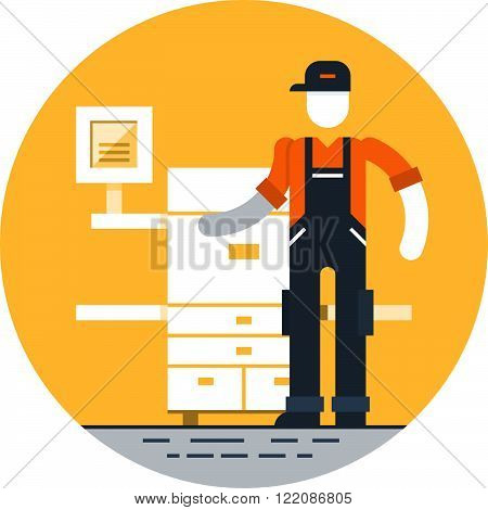 Printshop services and works, flat design illustration