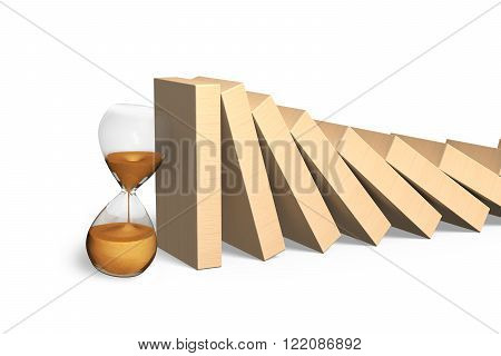 Falling dominoes with golden hourglass isolated on white background.