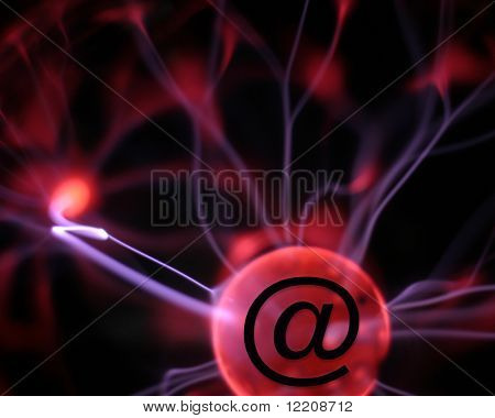 Plasma lamp with e-mail symbol