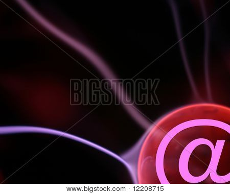 E-mail symbol on plasma lamp simulating global communications.