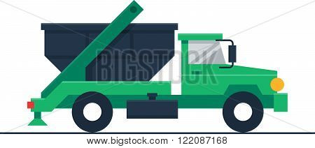 Garbage or waste truck, flat design illustration
