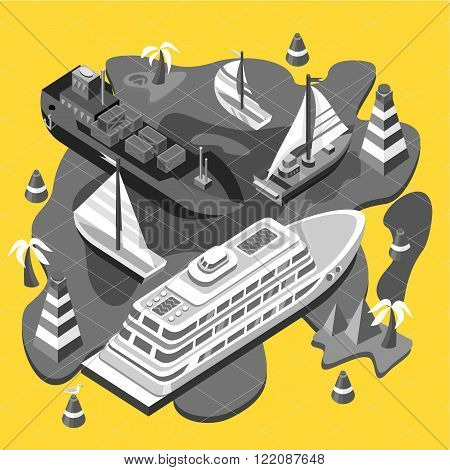 3d isometric set ships. Sea transport. Island and buoy, motorboat and containership, cruise and tanker, cargo shipping, boat transportation, ocean and vessel on yellow background. Sea transport vector