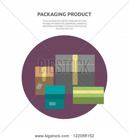 Packing product boxes icon design style. Box delivery, package service, transportation parcel, deliver container, receive pack, send and logistic vector illustration. Isolated packing product icon