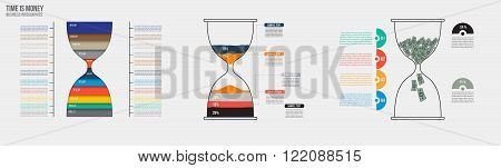 Time is money. Vector hourglass infographic template. Design business concept for presentation graph and diagram. Options parts steps or processes. Vector EPS10.