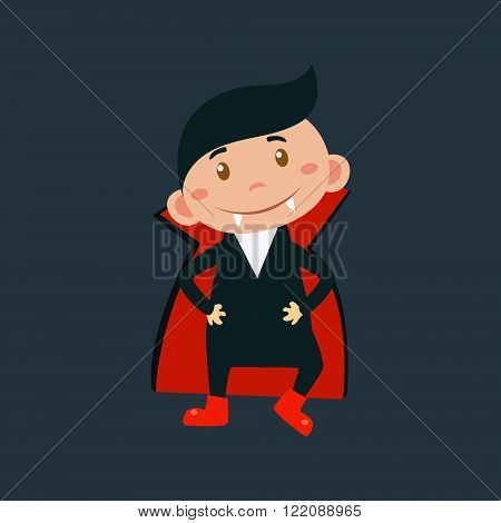 Little Boy In Dracula Haloween Disguise Funny Flat Vector Illustration On Dark Background