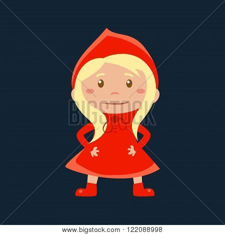 Girl In Red Riding Hood  Haloween Disguise Funny Flat Vector Illustration On Dark Background