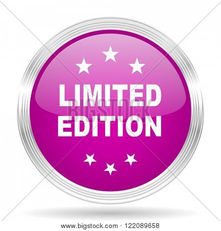 limited edition pink modern web design glossy circle icon