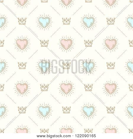 Vector seamless background with royal crown and sunburst heart - pattern for wallpaper, wrapping paper, book flyleaf, envelope inside, etc.