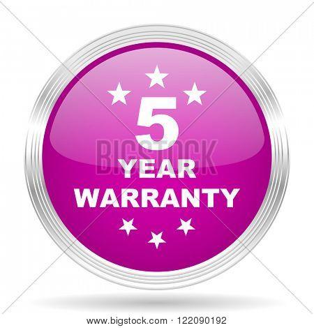 warranty guarantee 5 year pink modern web design glossy circle icon