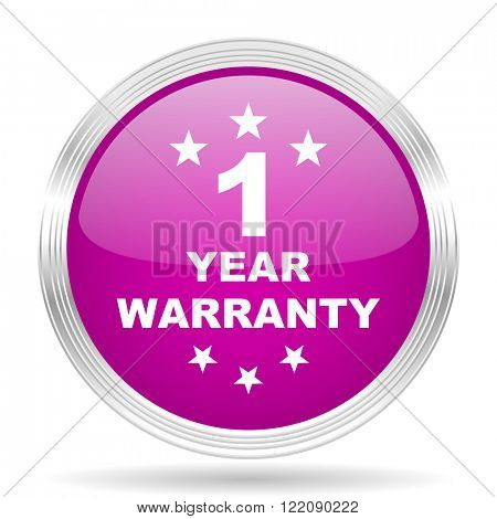 warranty guarantee 1 year pink modern web design glossy circle icon