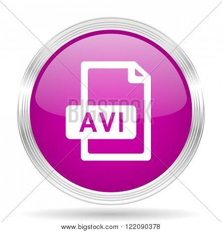 avi file pink modern web design glossy circle icon