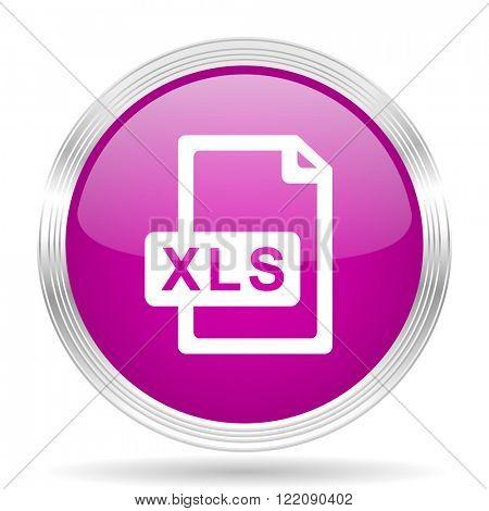 xls file pink modern web design glossy circle icon