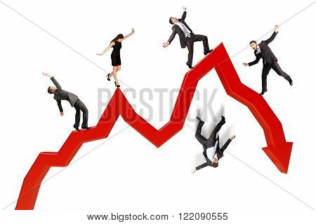 Business people falling from arrow isolated on white background