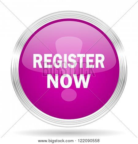 register now pink modern web design glossy circle icon