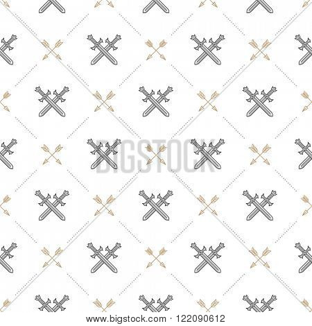 Vector seamless background with crossed swords and arrows - pattern for wallpaper, wrapping paper, book flyleaf, envelope inside, etc.