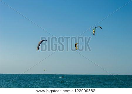 KITE BEACH, DUBAI - AUTUMN, 2015: Kite surfing area, parachutes
