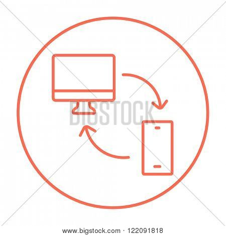 Synchronization computer with mobile device line icon.