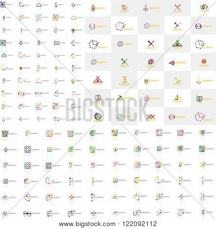 Huge mega collection of abstract logos. Linear logotypes made of overlapping multicolored segments of lines. Universal business icons, symbols for branding design