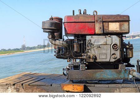 Old Chinese boat motor. Inwa (Ava). Myanmar