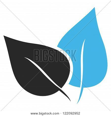Flora Plant vector icon. Picture style is bicolor flat flora plant icon drawn with blue and gray colors on a white background.