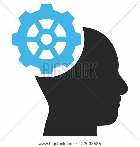 Head Gear vector icon. Picture style is bicolor flat head gear icon drawn with blue and gray colors on a white background.