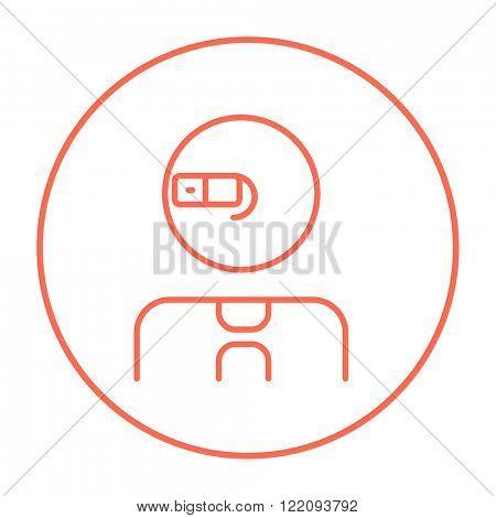Man in augmented reality glasses line icon.