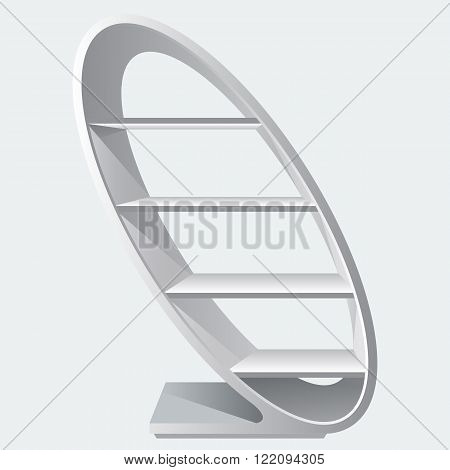 Round style cretive blank empty display shelf with racks for supermarket or to show products. Unique and nice Exhibition Pos-poi for your design. Illustrated stock vector. Realistic color style