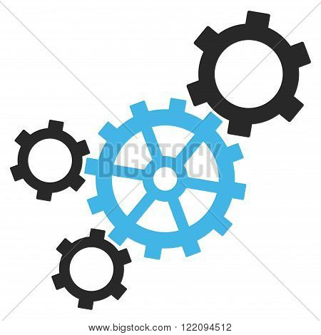 Mechanism vector icon. Picture style is bicolor flat mechanism icon drawn with blue and gray colors on a white background.