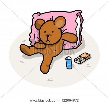 Lazy Bear, a hand drawn vector illustration of a bear leaning on a pillow, relaxing, enjoying snacks (editable shadow and background).