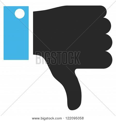 Thumb Down vector icon. Picture style is bicolor flat thumb down icon drawn with blue and gray colors on a white background.