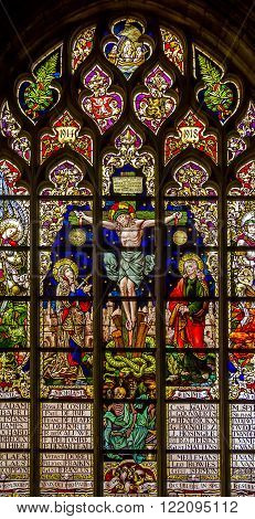 Brussels, Belgium - May 10: This is one of the stained glass windows of the Cathedral of Notre-Dame du Sablon May 10, 2013 in Brussels Belgium.