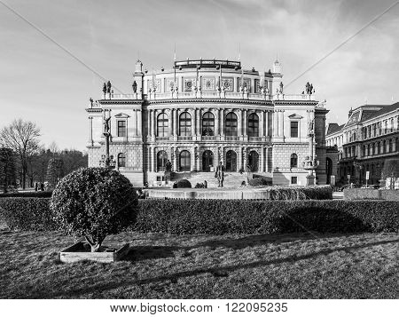 The Rudolfinum - neo-renaissance building and seat of Czech Philharmonic Orchestra, Prague, Czech Republic. Black and white image.