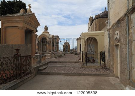 Menton, France - May 21: It is an old cemetery on the hill in the old town May 21, 2015 in Menton, France.