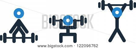 Powerlifting set of icons, linear design illustration