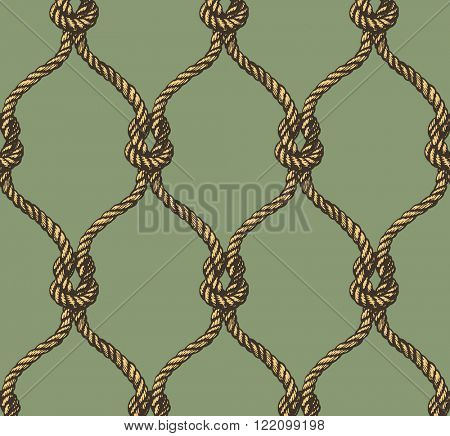 Rope seamless tied fishnet pattern. Vector illustration