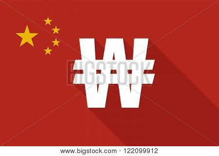 China Long Shadow Flag With A Won Currency Sign