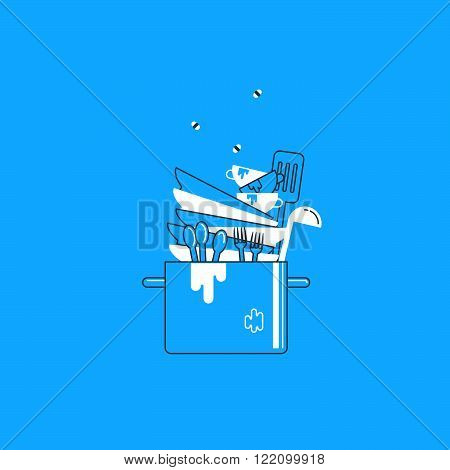 Dirty, unclean dishes concept, flat design illustration