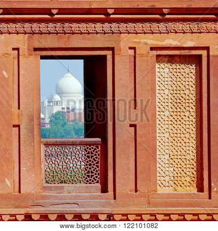Taj Mahal In Agra.  View From Agra Fort.  India