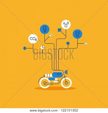Motorbike works and services, linear design illustration
