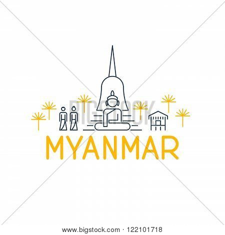 A skyline of sights in Myanmar an a logo beneath