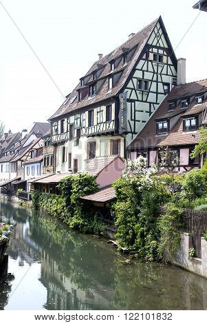 France Colmar. Ancient houses on the channel